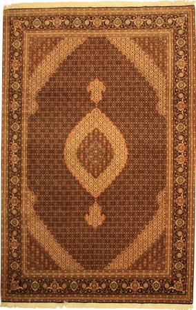 """Hand Made Persian VATAN, tabriz Wool and Silk 6'7"""" x 10' Blue DK"""