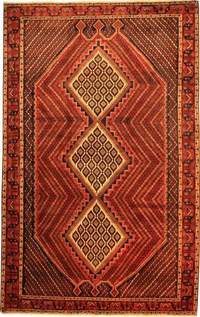 "Hand Made Persian VATAN, SIRDJAN Wool 7' x 11'4"" Red"