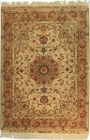 Hand Knotted Persian Tabriz Wool and Silk 5' x 7' Beige