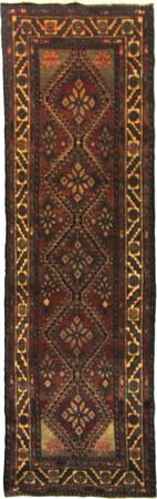 """Hand Knotted Persian Hamadan Wool 3'3"""" x 10'3"""" Red DK"""