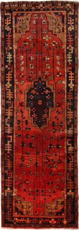 """Hand Knotted Persian Hamadan Wool 3'3"""" x 10'3"""" Red"""
