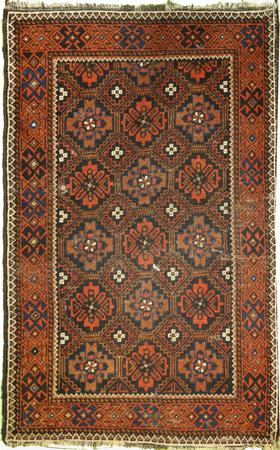 Hand Knotted Persian Wool Afghan Brown Rug 2'9
