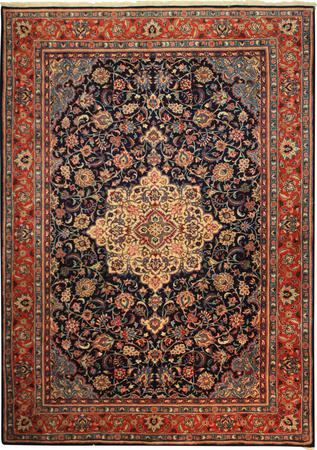 """Hand Knotted Persian Kashan Wool 6'6"""" x 9'6"""" Blue DK"""
