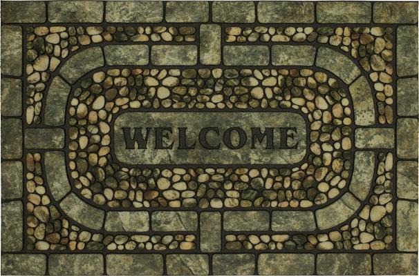 Mohawk Doorscapes Estate Mat Welcome Garden Pebbles Gray Green