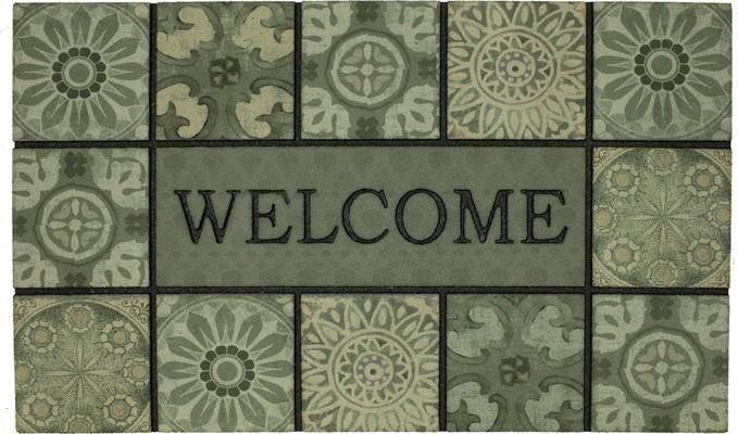 Mohawk Doorscapes Mat Welcome Ocean Tiles Slate Green