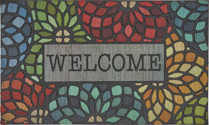 Mohawk Doorscapes Mat Welcome Stained Glass Floret Multi