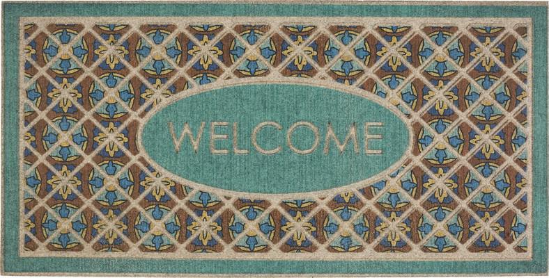 Mohawk Ornamental Entry Mat Retro Tiles Blue/Navy