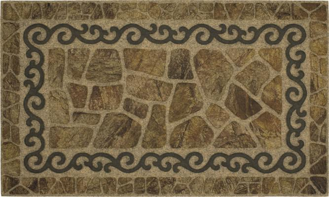 Mohawk Ornamental Entry Mat Scroll and Stone Brown